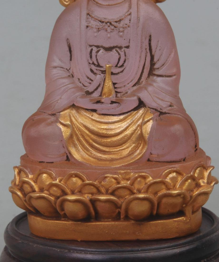A FINE GILT GLASS GUAN YIN FIGURE - 3