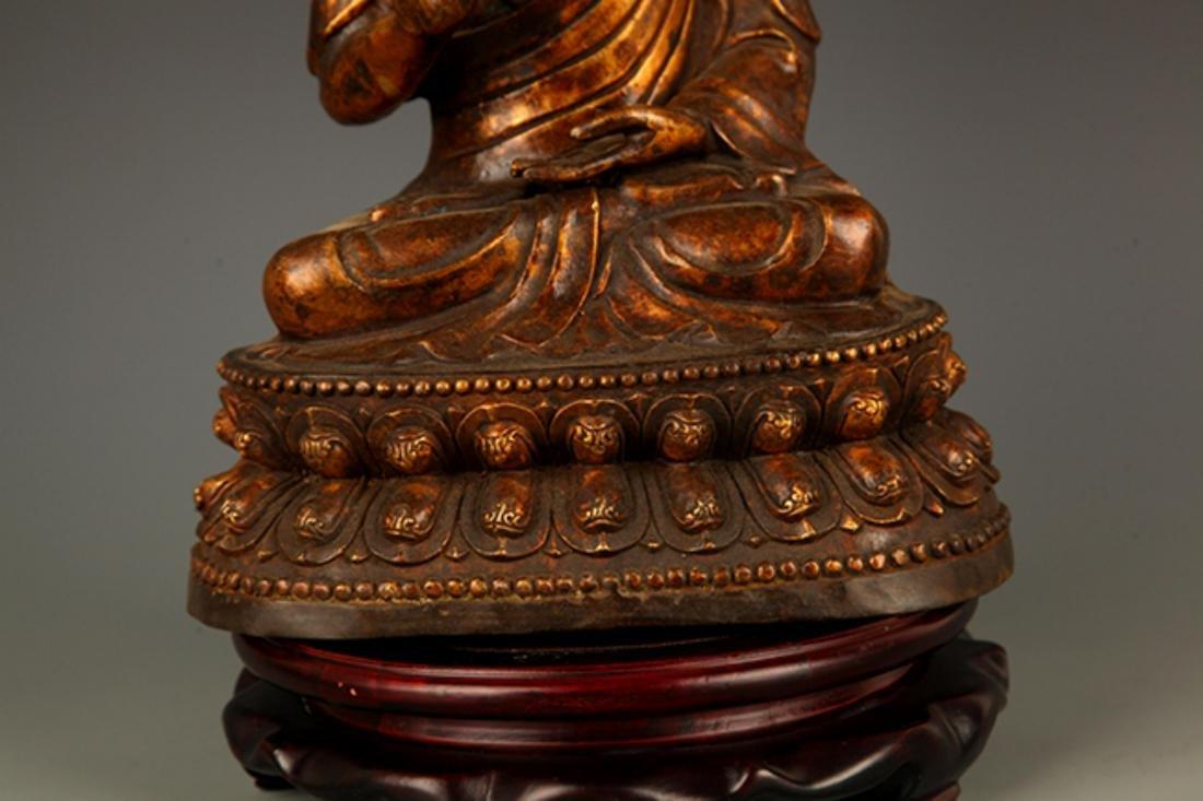 A FINELY CARVED AKSHOBHYA BUDDHA FIGURE - 4