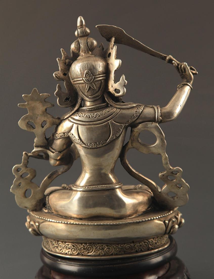 A BRONZE TIBETAN MANJUSRI BUDDHA - 4
