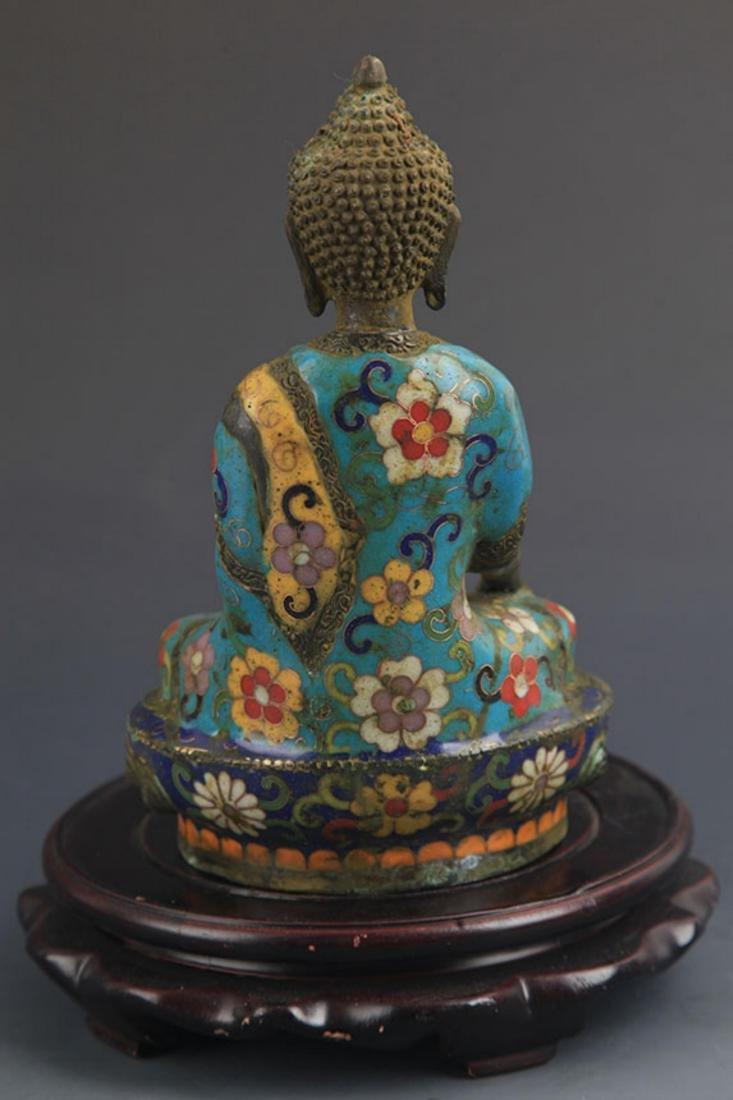 A BRONZE CLOISONNE ENAMEL PHARMACIST BUDDHA STATUE - 5