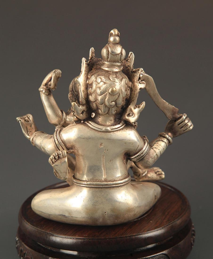 A TIBETAN BUDDHISM BRONZE MANDKESVARA FIGURE - 5