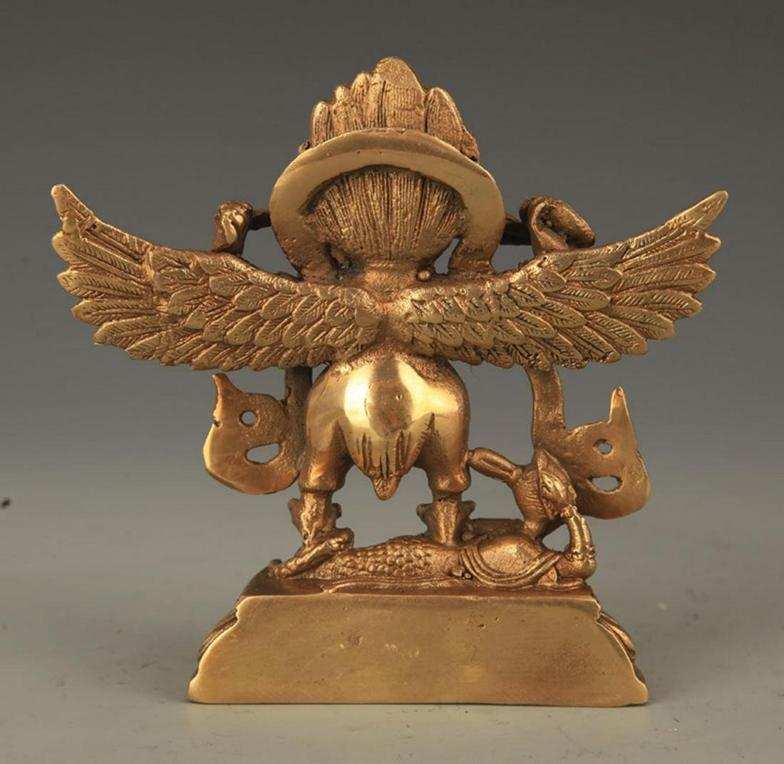 TIBETAN BUDDHISM BRONZE GARUDA FIGURE - 4