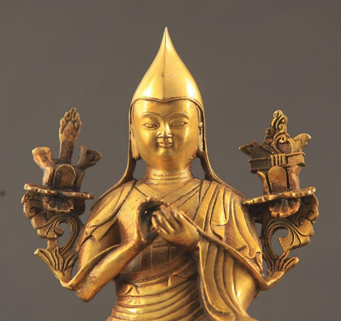 A TIBETAN BUDDHISM ZONGKABA STATUE - 3