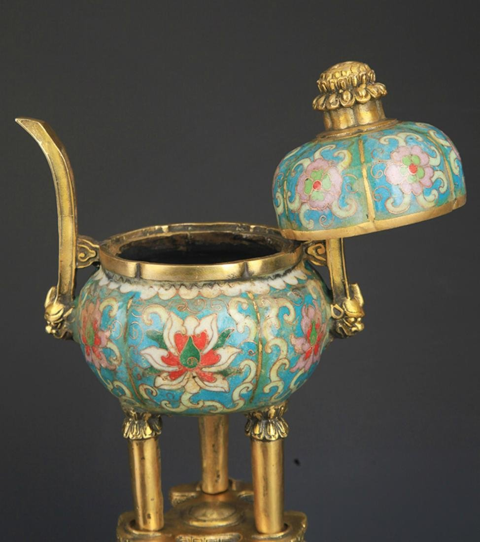 A BRONZE CLOISONNE AROMATHERAPY WITH BASE - 6