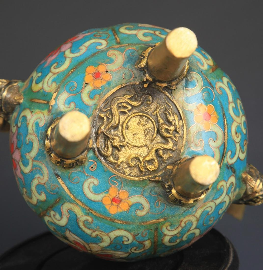 A BRONZE CLOISONNE AROMATHERAPY WITH BASE - 8