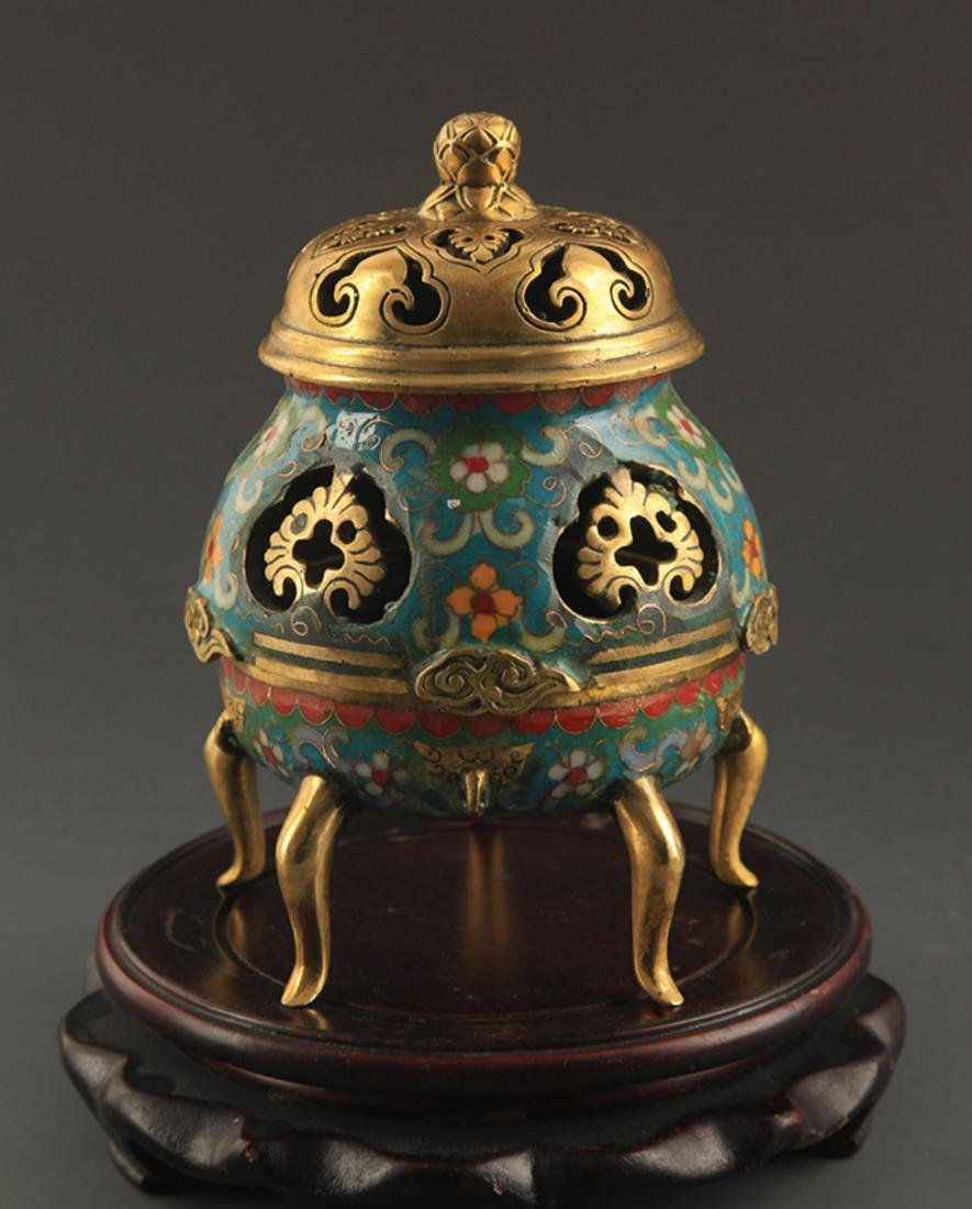 A BRONZE  CLOISONNE FLOWER AND RU YI AROMATHERAPY