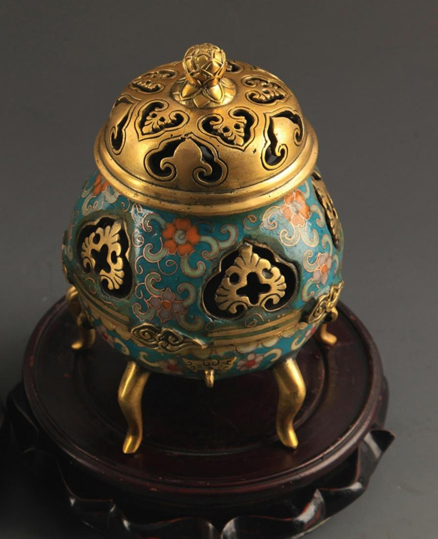 A BRONZE  CLOISONNE FLOWER AND RU YI AROMATHERAPY - 2