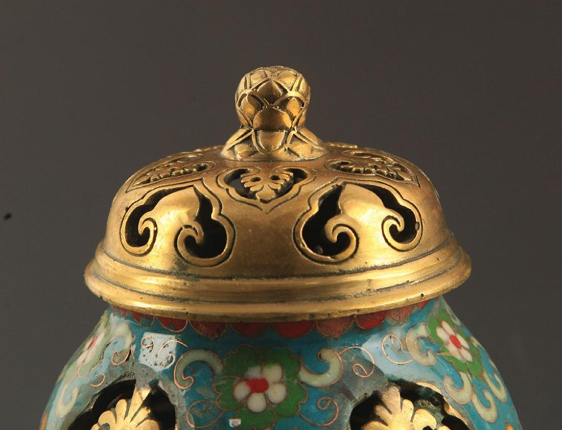 A BRONZE  CLOISONNE FLOWER AND RU YI AROMATHERAPY - 3