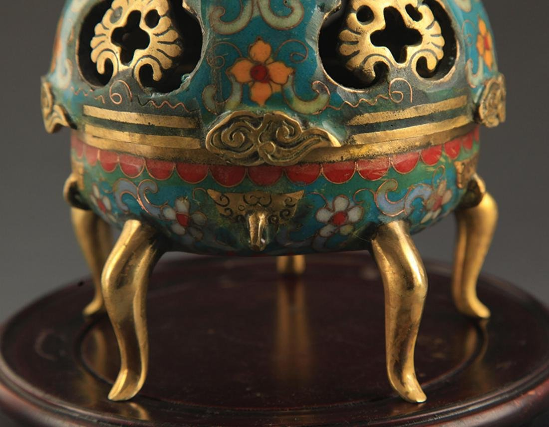 A BRONZE  CLOISONNE FLOWER AND RU YI AROMATHERAPY - 4