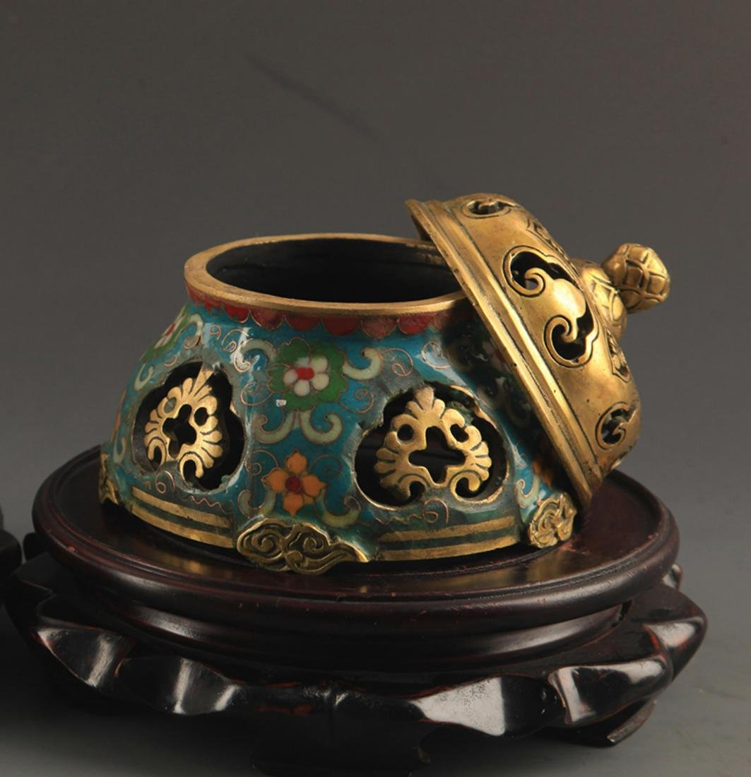 A BRONZE  CLOISONNE FLOWER AND RU YI AROMATHERAPY - 5