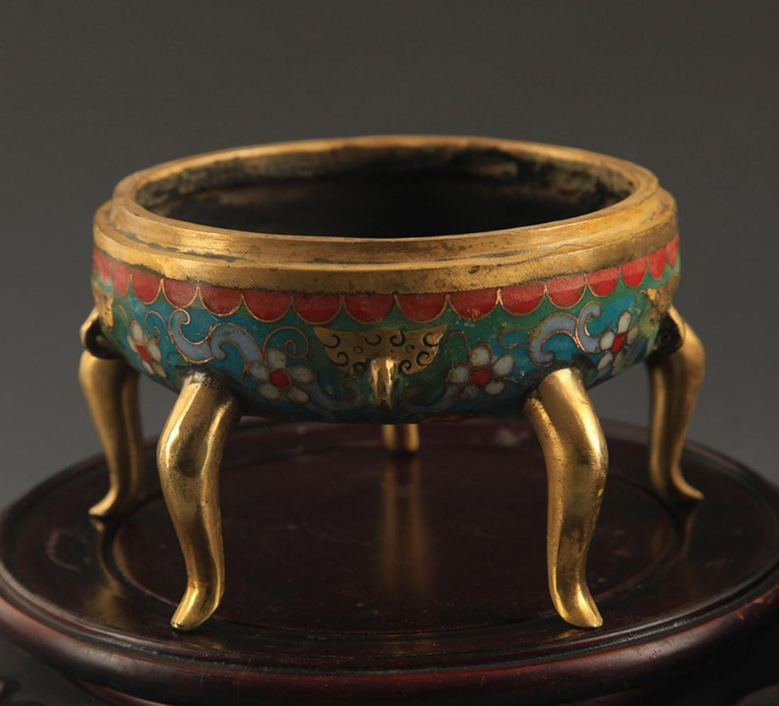A BRONZE  CLOISONNE FLOWER AND RU YI AROMATHERAPY - 6