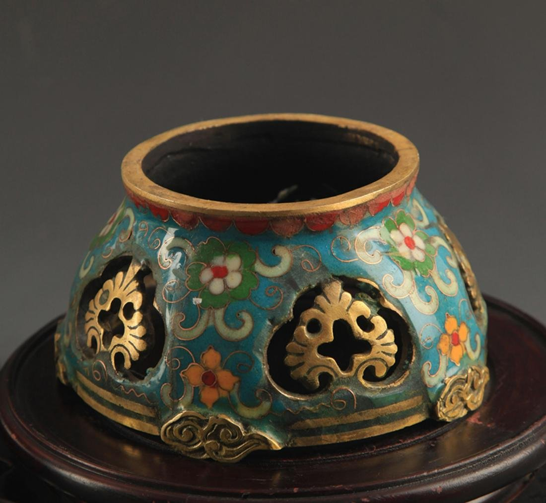 A BRONZE  CLOISONNE FLOWER AND RU YI AROMATHERAPY - 7