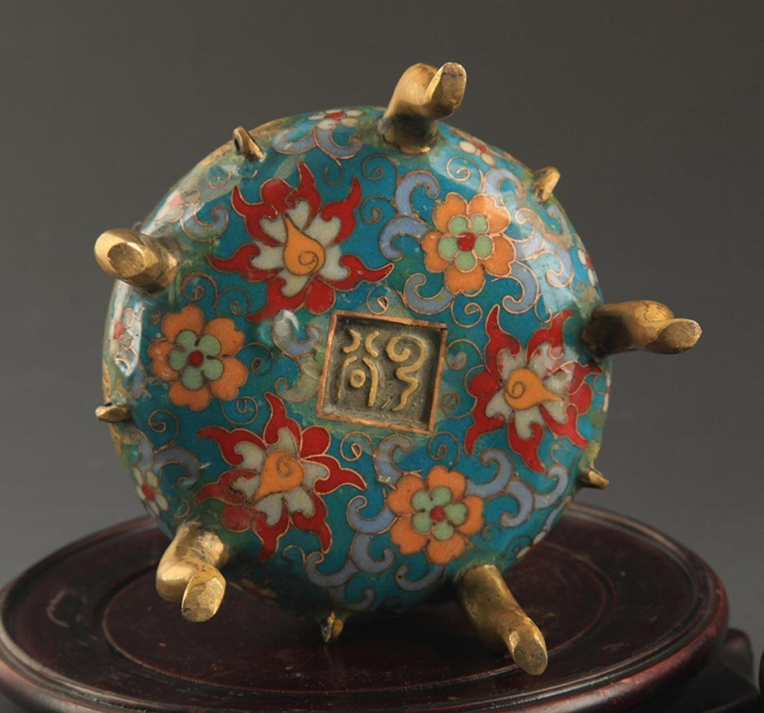 A BRONZE  CLOISONNE FLOWER AND RU YI AROMATHERAPY - 9