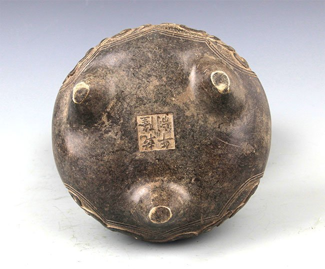 A CHINESE CARVING ROUND BRONZE CENSER - 5
