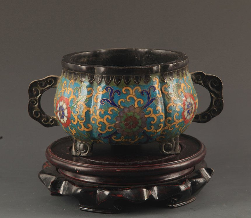 A BRONZE CLOISONNE ENAMEL RU YI HANDLE CENSER