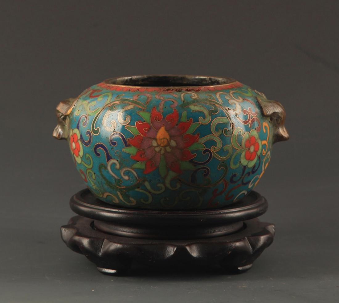 A BRONZE CLOISONNE FINELY CARVED CENSER