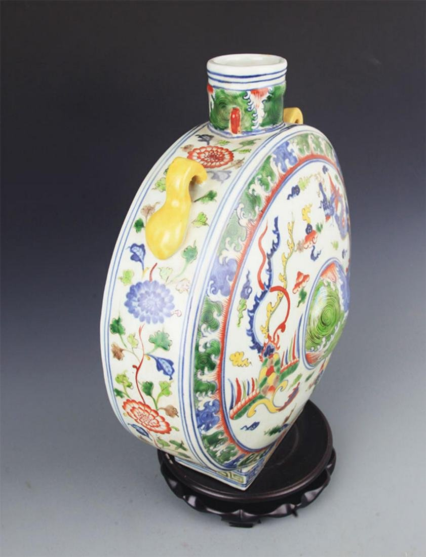 A LARGE FAMILLE-VERTE PORCELAIN MOON BOTTLE - 8