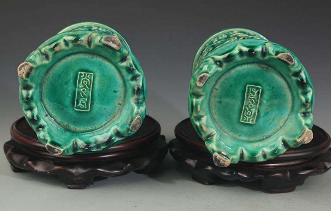 PAIR OF HOLLOW MADE CHARACTER PATTERN BRUSH POT - 3