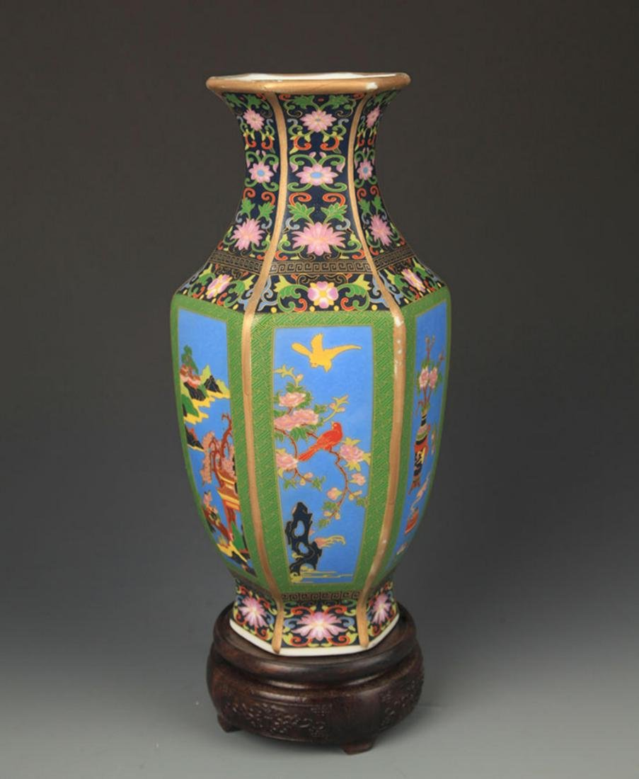 A ENAMEL COLOR FLOWER AND BIRD PAINTED SIX SIDED VASE