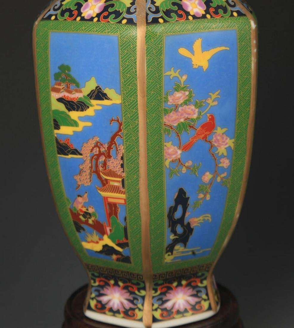 A ENAMEL COLOR FLOWER AND BIRD PAINTED SIX SIDED VASE - 3