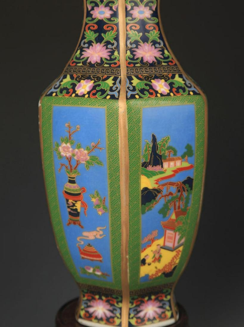 A ENAMEL COLOR FLOWER AND BIRD PAINTED SIX SIDED VASE - 4