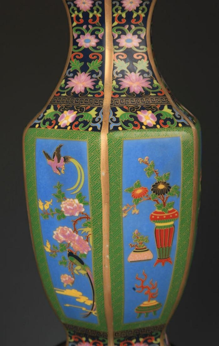 A ENAMEL COLOR FLOWER AND BIRD PAINTED SIX SIDED VASE - 5