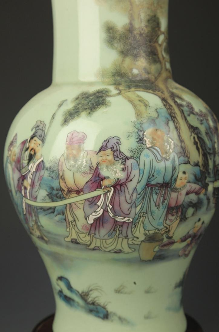 A GREEN GLAZE FAMILLE ROSE STORY PAINTED VASE - 3