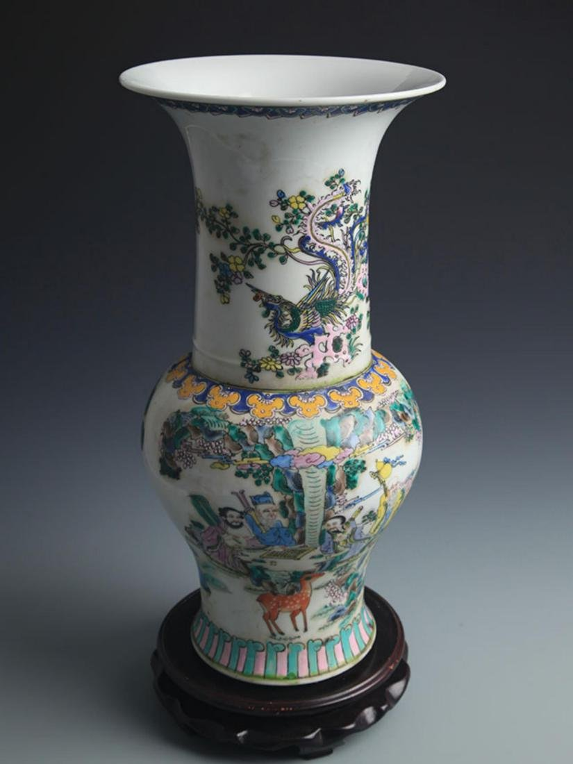 A TALL FAMILLE-VERTE STORY PAINTED JAR - 2
