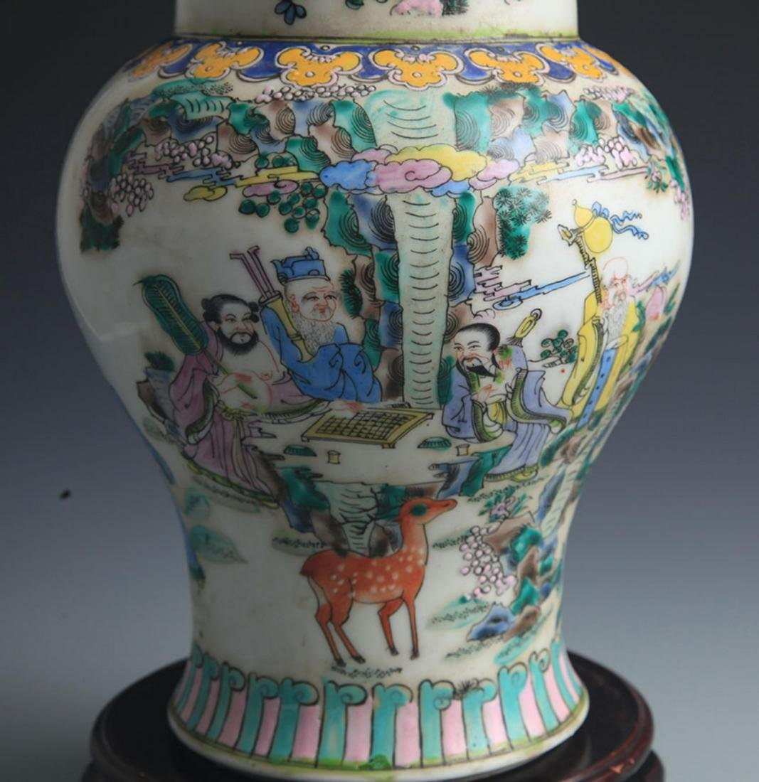 A TALL FAMILLE-VERTE STORY PAINTED JAR - 4