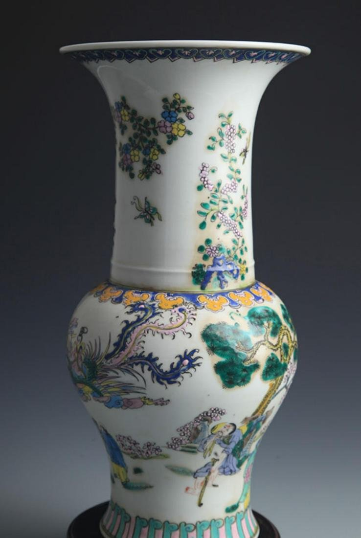 A TALL FAMILLE-VERTE STORY PAINTED JAR - 5