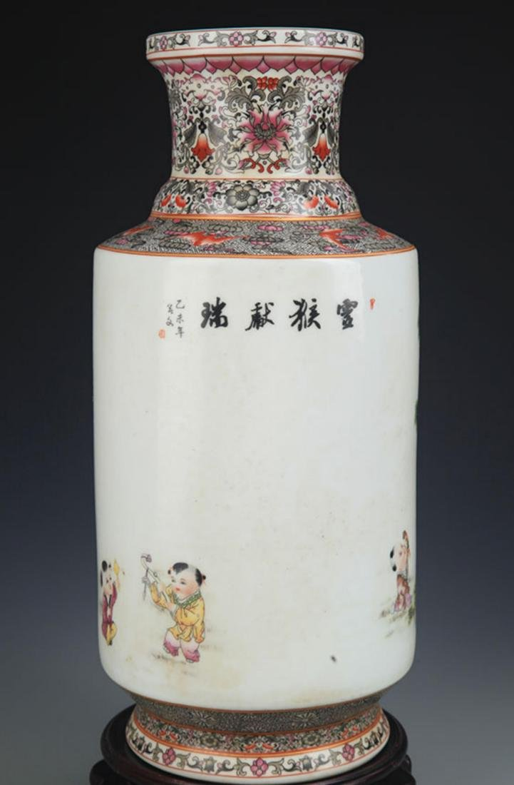 A FAMILLE ROSE MONEY PAINTED WOODEN CLUB STYLE VASE - 5