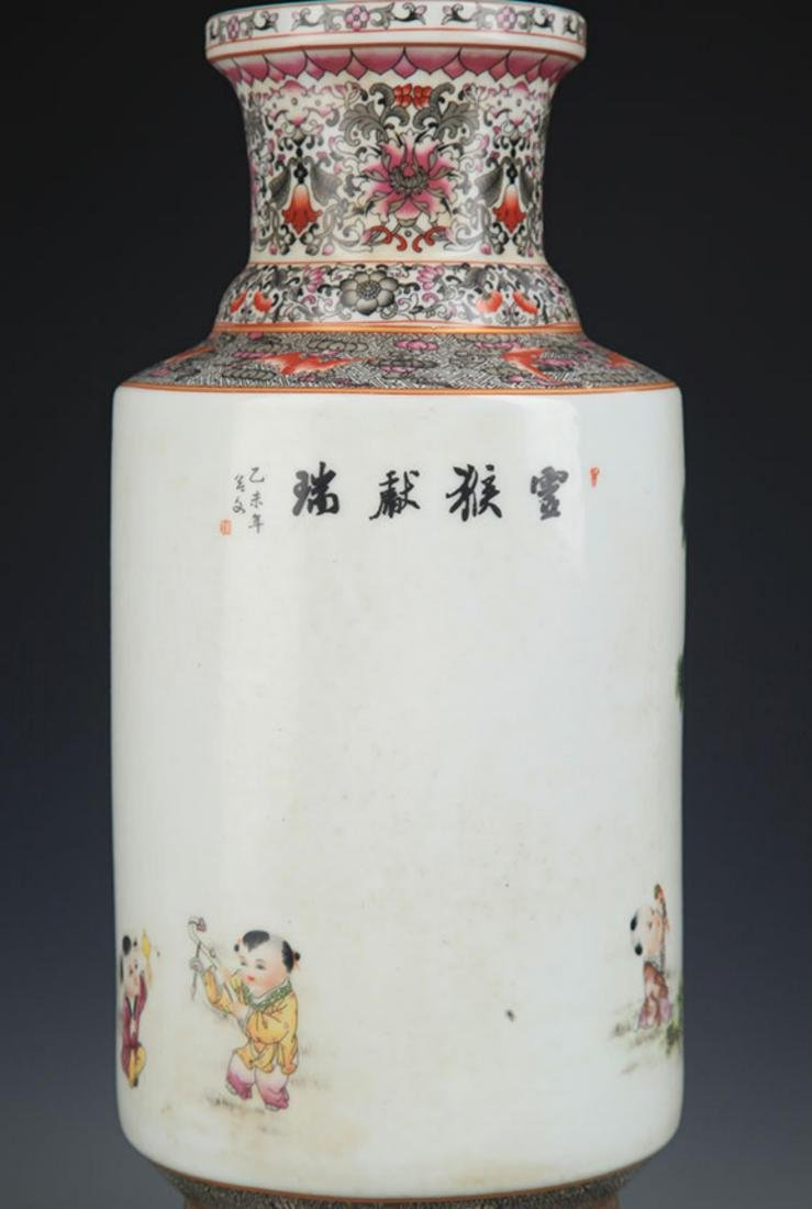 A FAMILLE ROSE MONEY PAINTED WOODEN CLUB STYLE VASE - 7