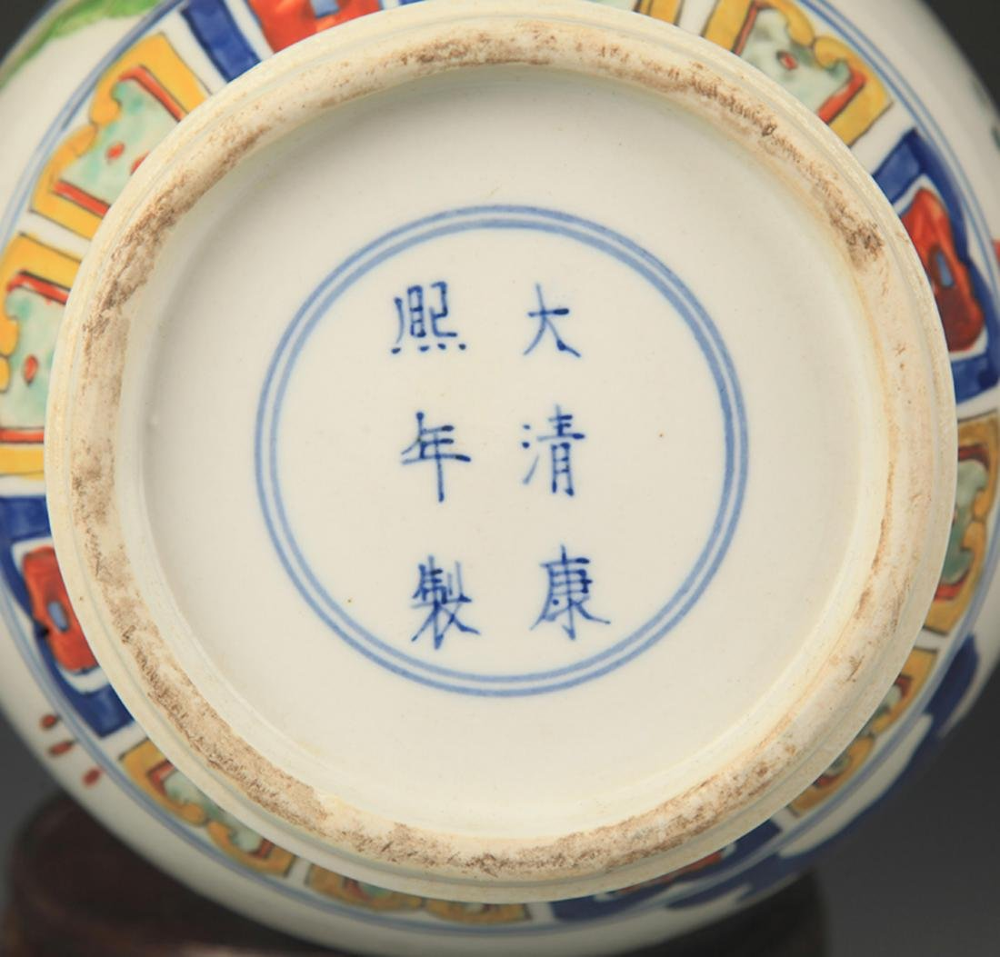 BLUE AND WHITE FAMILLE VERTE STORY PAINTED VASE - 5