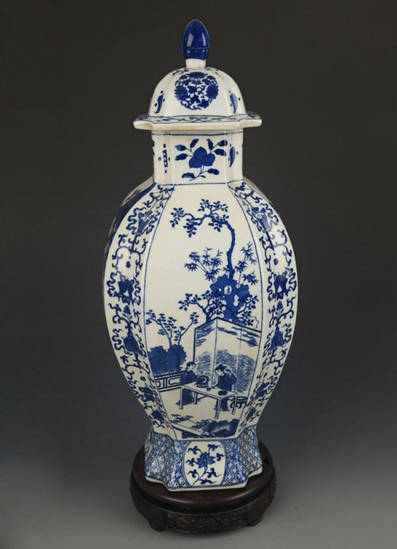BLUE AND WHITE STORY PATTERN GENERAL STYLE JAR