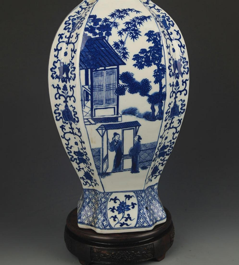 BLUE AND WHITE STORY PATTERN GENERAL STYLE JAR - 6