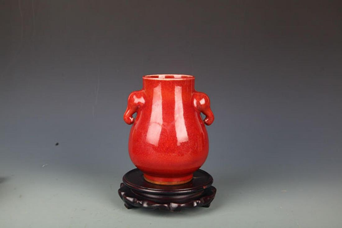 A LIAN KILN RED COLOR ELEPHANT EAR PORCELAIN JAR