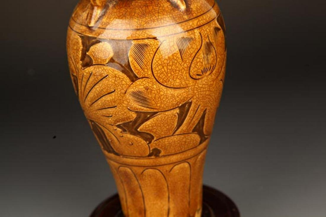 A BROWN COLOR GLAZED FLOWER CARVING PORCELAIN MEI - 3