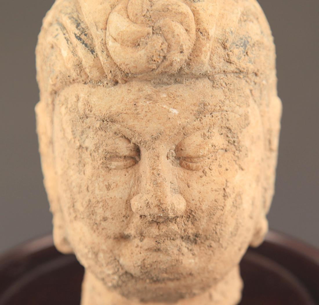 A LARGE STONE BUDDHA HEAD - 4