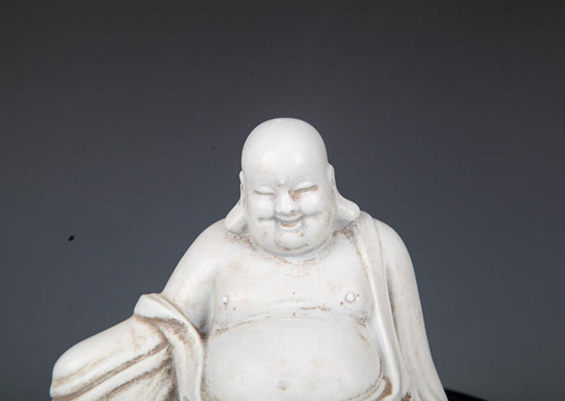A WHITE COLOR DA HA KILN BAG MONK FIGURE - 2