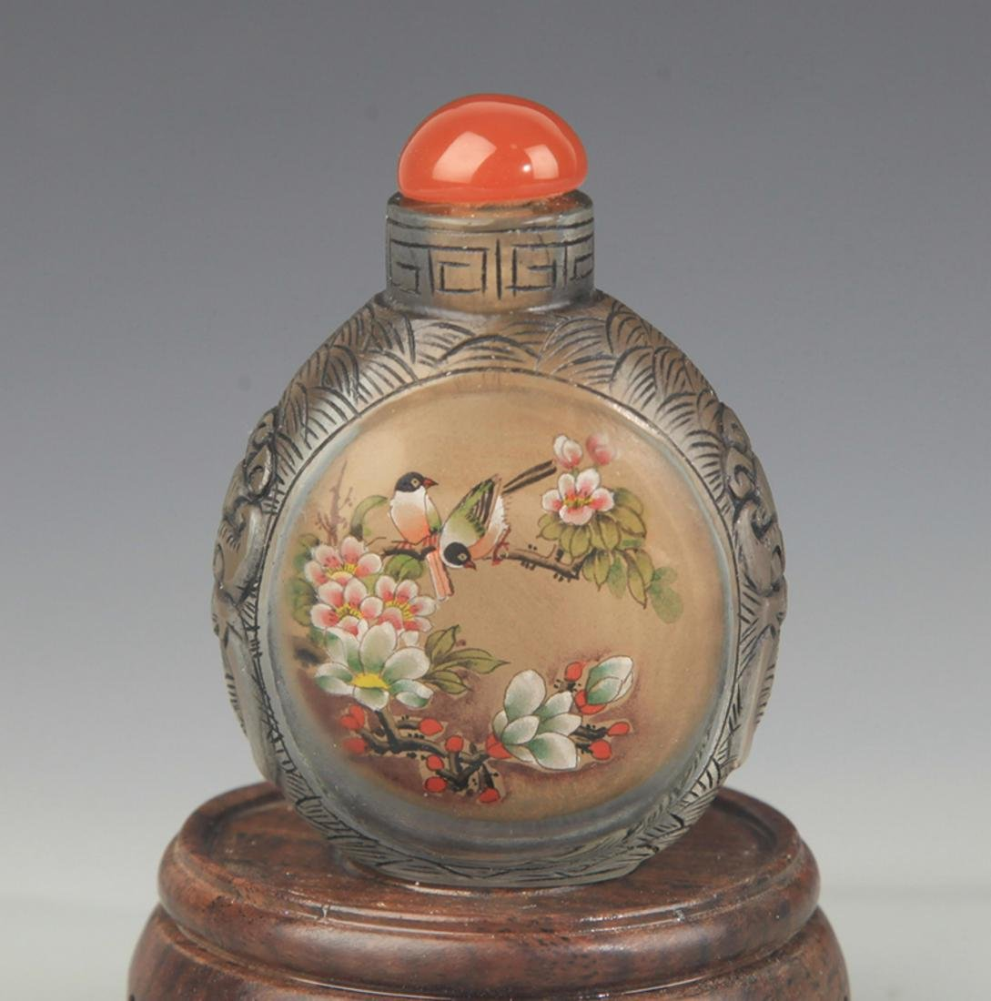 A FINELY PAINTED GLASS SNUFF BOTTLE - 2