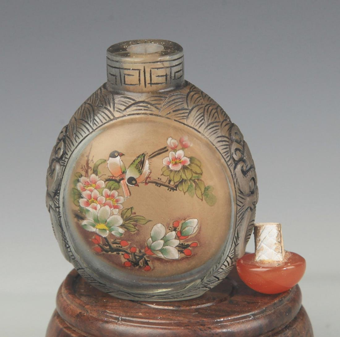 A FINELY PAINTED GLASS SNUFF BOTTLE - 3
