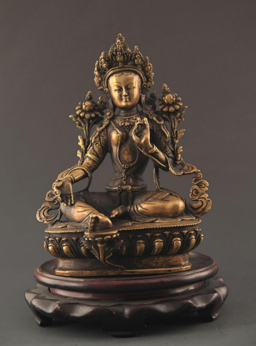 A TIBETAN BUDDHISM BRONZE GREEN TARA STATUE STATUE
