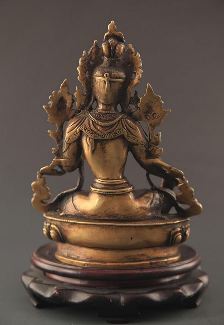 A TIBETAN BUDDHISM BRONZE GREEN TARA STATUE STATUE - 5