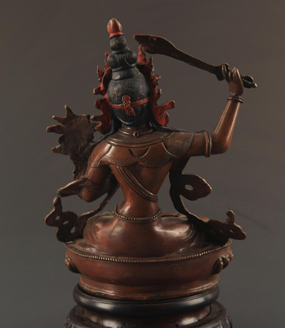 A FINE BRONZE MANJUSRI BUDDHA FIGURE - 4