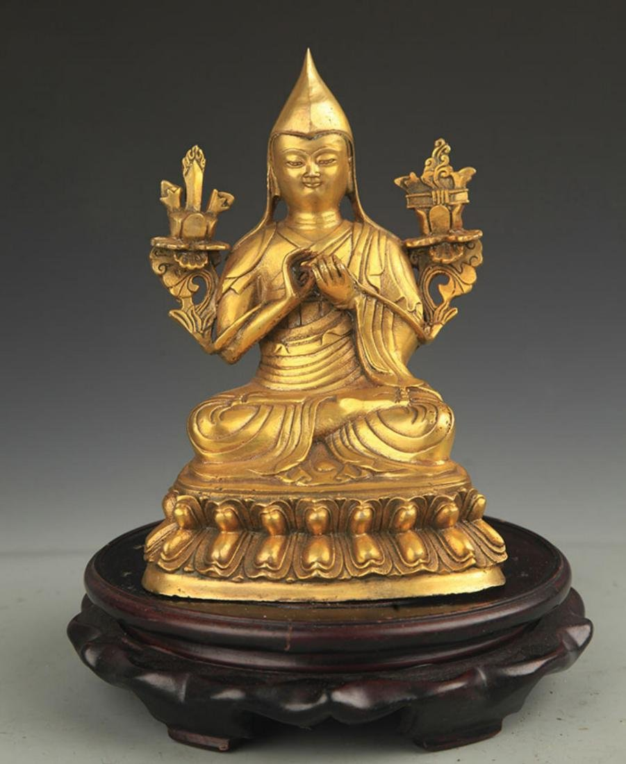 A TIBETAN BUDDHISM BRONZE TSONGKHAPA STATUE