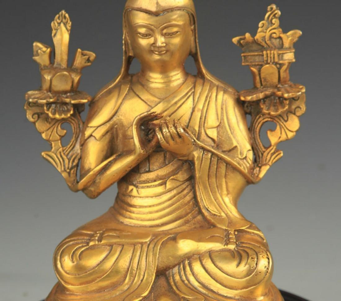 A TIBETAN BUDDHISM BRONZE TSONGKHAPA STATUE - 2