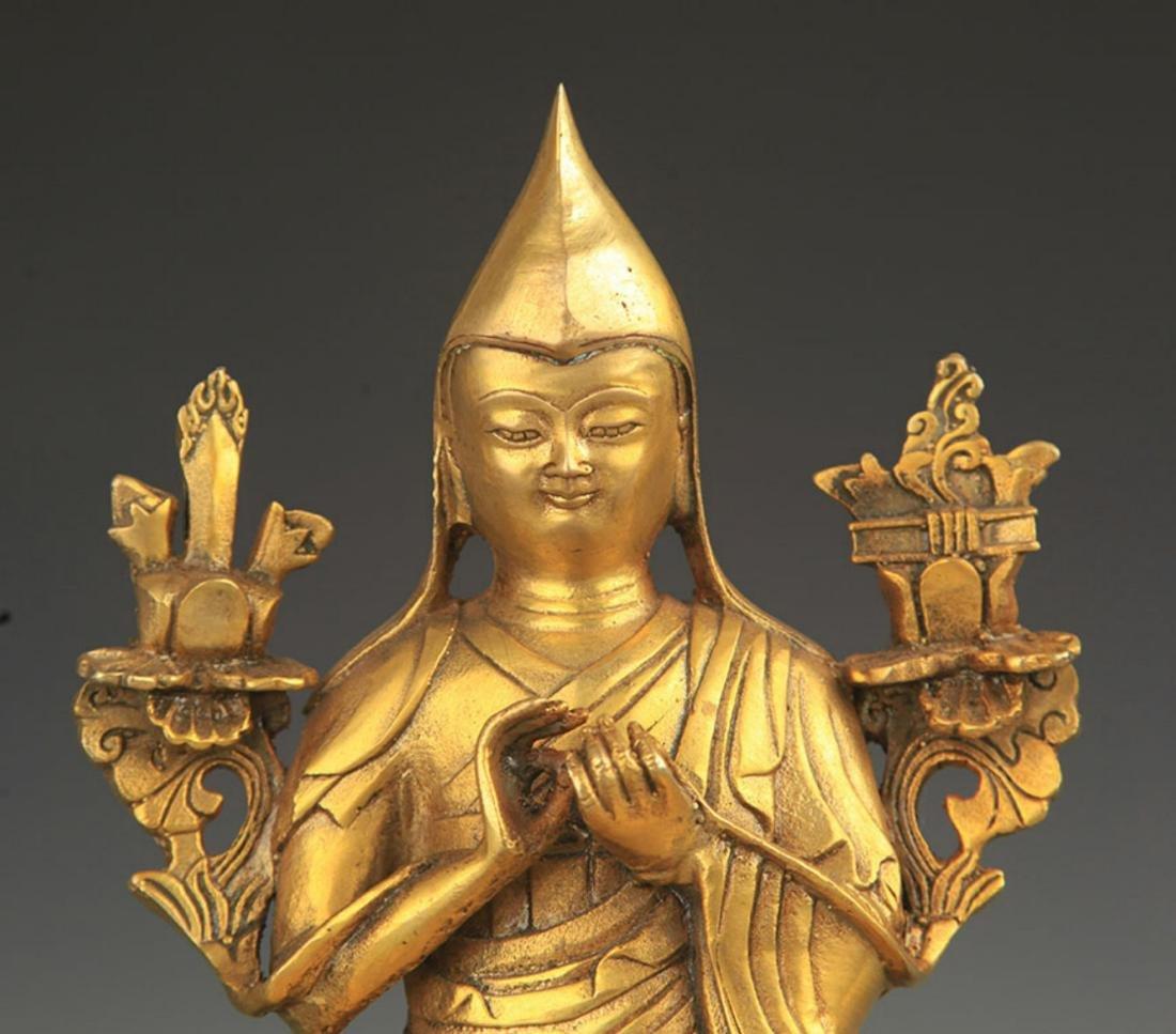 A TIBETAN BUDDHISM BRONZE TSONGKHAPA STATUE - 3