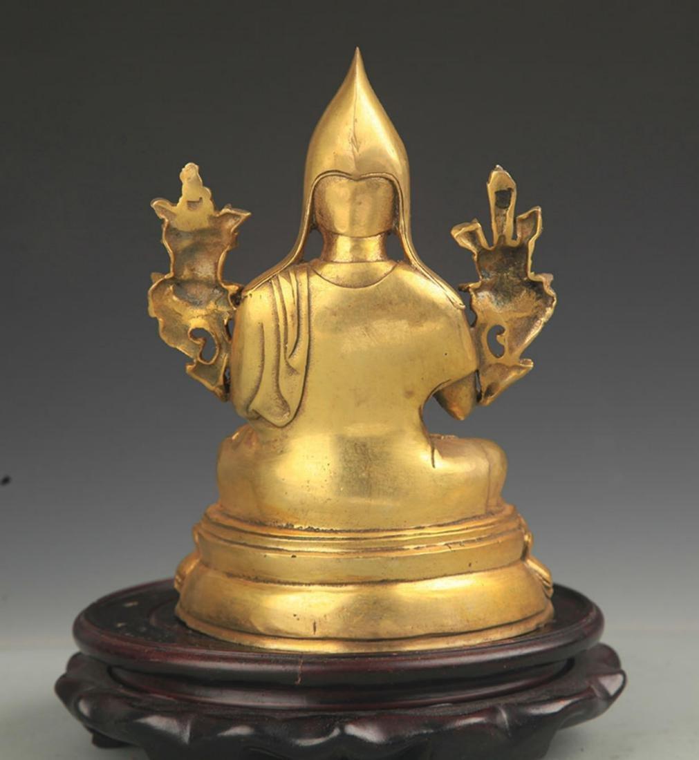 A TIBETAN BUDDHISM BRONZE TSONGKHAPA STATUE - 5