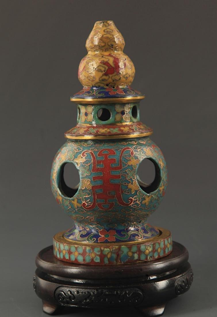 CLOISONNE ENAMEL BUDDHA TOWER STYLE AROMATHERAPY