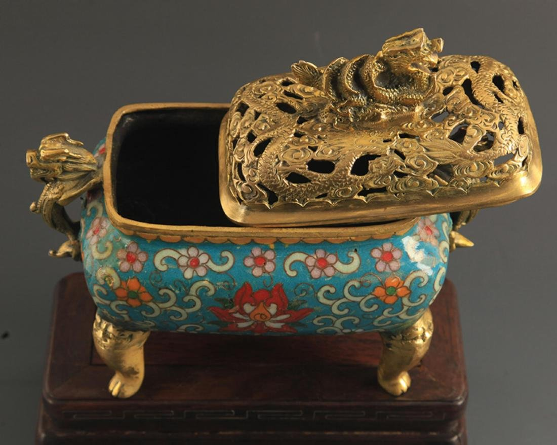 A CLOISONNE DRAGON CARVING AROMATHERAPY - 3